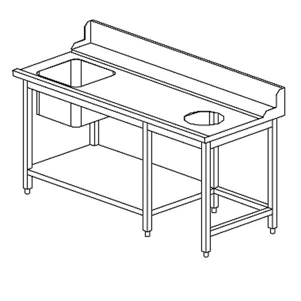 Zulauftisch rechts mit Schacht - Breite 150 cm
