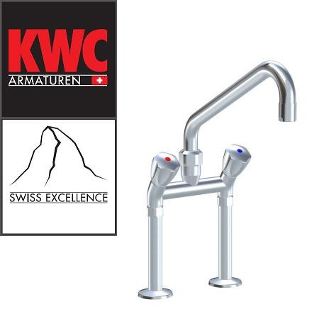 """KWC Gastro K.24.42.43.000C74 3/4"""" Zweigriff-Gastronomiearmatur - Zweiloch - hoch - geneigt"""