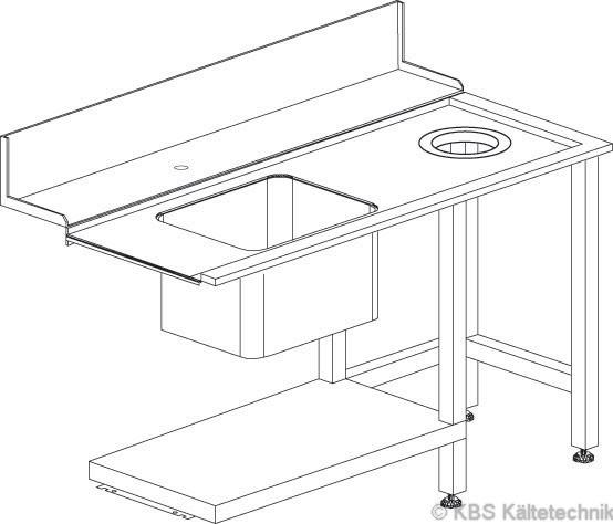 Zu/Ablauftisch rechts mit Becken und Loch für Müllabwurf