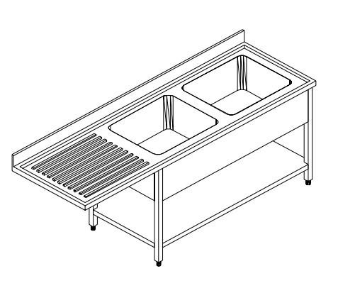 Spültisch für Spülmaschinen - Doppelbecken rechts - Breite 150 cm