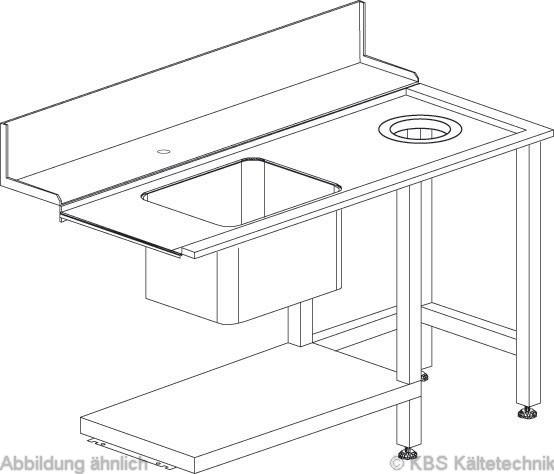 Zu/Ablauftisch links mit Becken und Loch für Müllabwurf