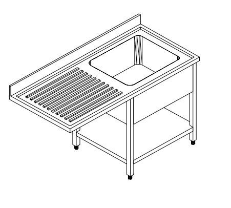 Spültisch für Spülmaschinen - Becken rechts - Breite 120 cm